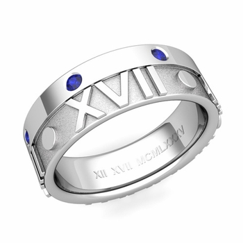 Harmony Roman Numeral Sapphire Wedding Band in 14k Gold, 7mm