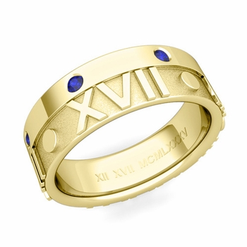 Harmony Roman Numeral Sapphire Wedding Band in 18k Gold, 7mm