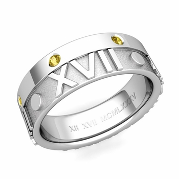Harmony Roman Numeral Yellow Sapphire Wedding Band in 14k Gold, 7mm
