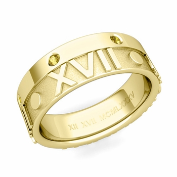 Harmony Roman Numeral Yellow Sapphire Wedding Band in 18k Gold, 7mm