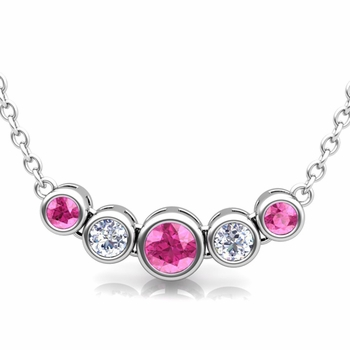 Bezel Set Diamond and Pink Sapphire Necklace in 14k Gold Bubble Pendant