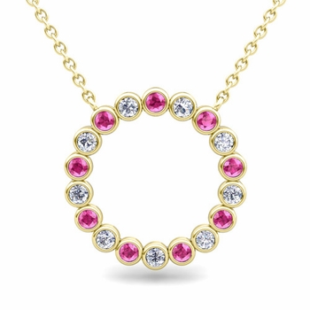 Bezel Set Diamond and Pink Sapphire Necklace in 18k Gold Circle Pendant