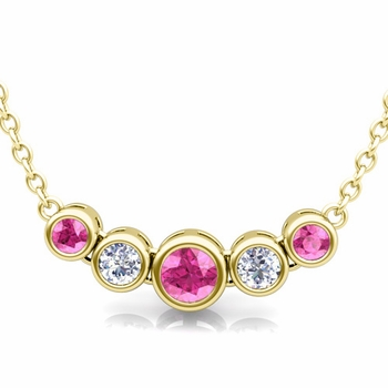 Bezel Set Diamond and Pink Sapphire Necklace in 18k Gold Bubble Pendant