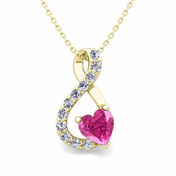 Diamond and Pink Sapphire Heart Necklace in 18k Gold Infinity Pendant