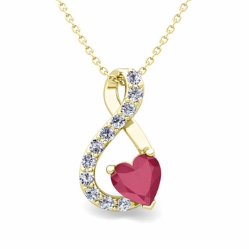 Diamond and Ruby Heart Necklace in 18k Gold Infinity Pendant