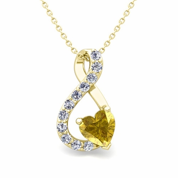 Diamond and Yellow Sapphire Heart Necklace in 18k Gold Infinity Pendant