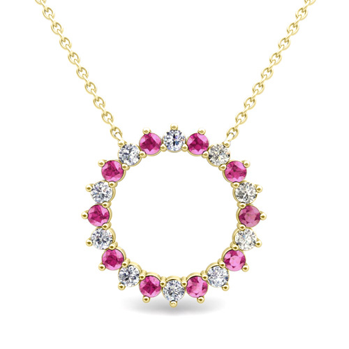 Circle diamond and pink sapphire pendant in 18k gold drop necklace mozeypictures Image collections