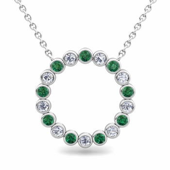 Bezel Set Diamond and Emerald Necklace in 14k Gold Circle Pendant
