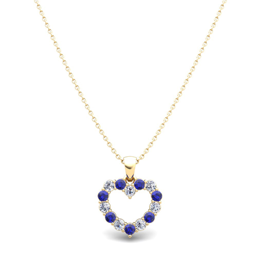 Heart diamond and sapphire necklace in 14k gold pendant diamond and sapphire heart necklace aloadofball Gallery