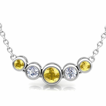 Bezel Set Diamond and Yellow Sapphire Necklace in 14k Gold Bubble Pendant