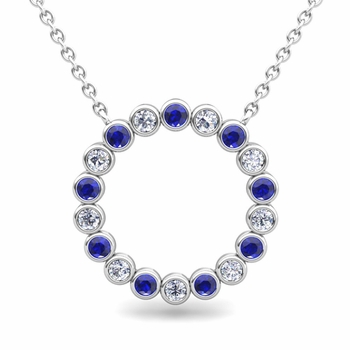 Bezel Set Diamond and Sapphire Necklace in 14k Gold Circle Pendant