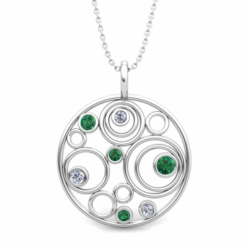 Diamond and Emerald Circle Pendant in 14k Gold Drop Necklace