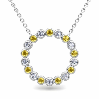 Bezel Set Diamond and Yellow Sapphire Necklace in 14k Gold Circle Pendant