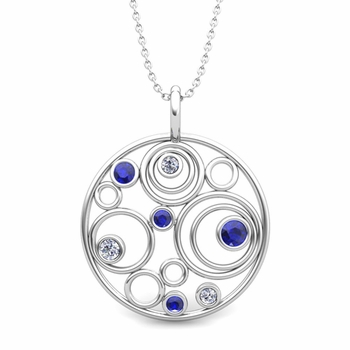 Diamond and Sapphire Circle Pendant in 14k Gold Drop Necklace