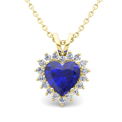 Heart sapphire and diamond necklace in 14k gold pendant order now ships on friday 824order now ships in 14 business days heart sapphire and diamond necklace aloadofball Gallery