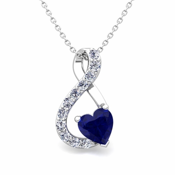 Diamond and Sapphire Heart Necklace in 14k Gold Infinity Pendant