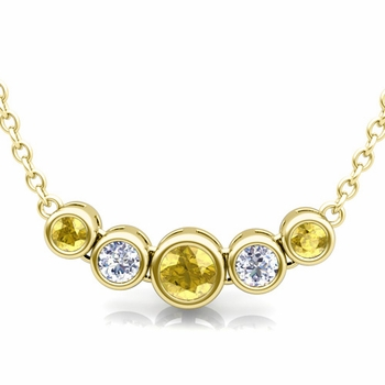 Bezel Set Diamond and Yellow Sapphire Necklace in 18k Gold Bubble Pendant