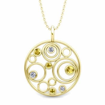 Diamond and Yellow Sapphire Circle Pendant in 18k Gold Drop Necklace