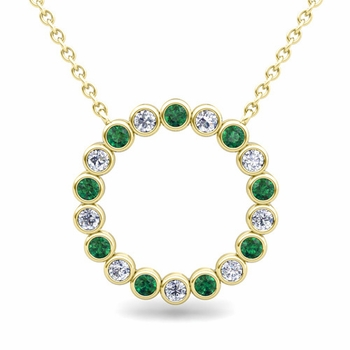 Bezel Set Diamond and Emerald Necklace in 18k Gold Circle Pendant