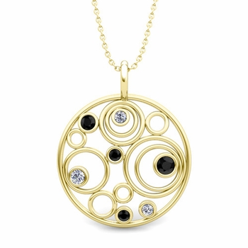 Black and White Diamond Circle Pendant in 18k Gold Drop Necklace