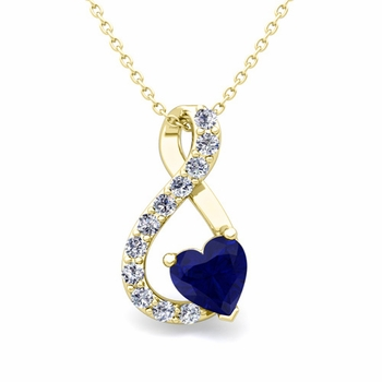 Diamond and Sapphire Heart Necklace in 18k Gold Infinity Pendant