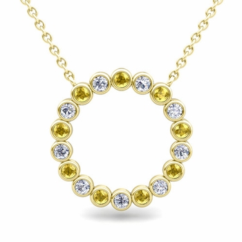 Bezel Set Diamond and Yellow Sapphire Necklace in 18k Gold Circle Pendant