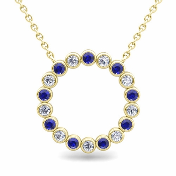 Bezel Set Diamond and Sapphire Necklace in 18k Gold Circle Pendant