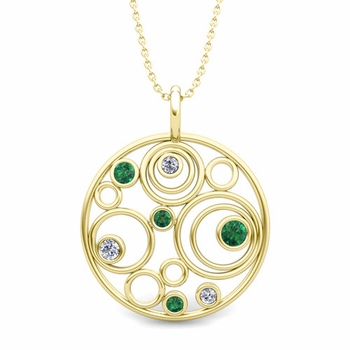 Diamond and Emerald Circle Pendant in 18k Gold Drop Necklace