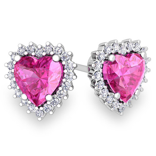 Diamond and Pink Sapphire Earrings in 14k Gold Heart ...
