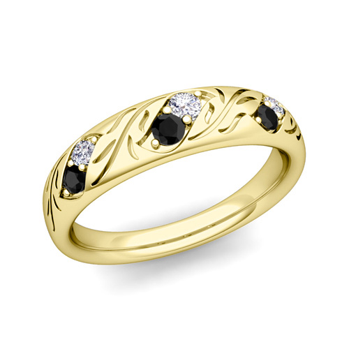 his and hers matching wedding band in 14k gold black diamond On his and hers diamond wedding bands