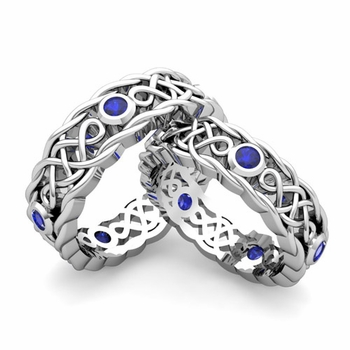 Build Celtic Wedding Ring Band for Him and Her with Diamonds and Gemstones