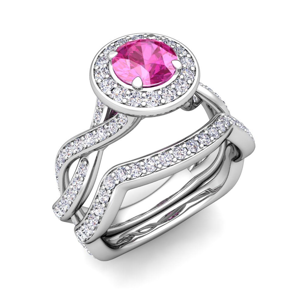 14k gold bridal set infinity diamond pink sapphire for Sapphire wedding ring sets