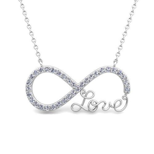 Infinity diamond love necklace in 18k gold pendant order now ships on wednesday 718order now ships in 5 business days infinity diamond love necklace aloadofball Image collections