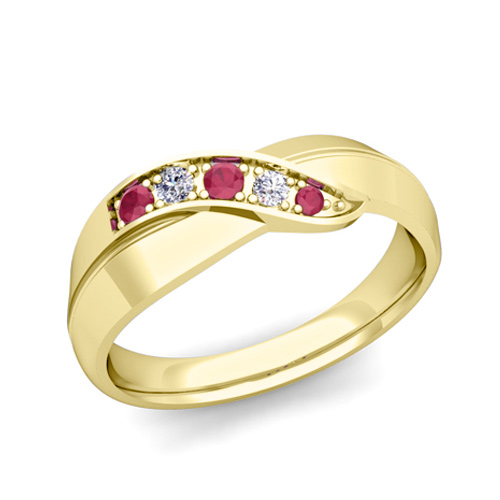 Ruby Wedding Rings   Infinity Diamond And Ruby Mens Wedding Band Ring In 14k Gold