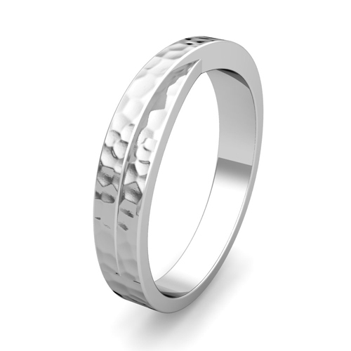 Infinity Wedding Band in Platinum Mens Hammered Ring 4mm