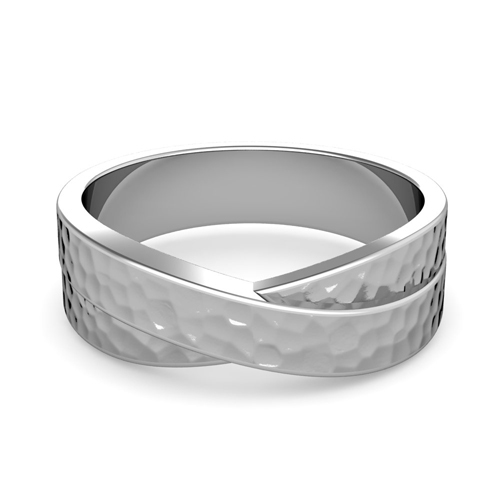 Completely new Infinity Wedding Band in Platinum Mens Hammered Ring, 7mm PJ01