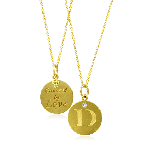 Initial necklace letter d diamond pendant with 18k yellow for Letter d diamond pendant