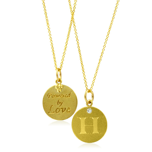 Initial Necklace Letter H Diamond Pendant With 18k Yellow Gold Chain