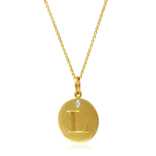 Initial necklace letter l diamond pendant with 18k yellow gold chain order now ships on friday 824order now ships in 10 business days aloadofball Gallery