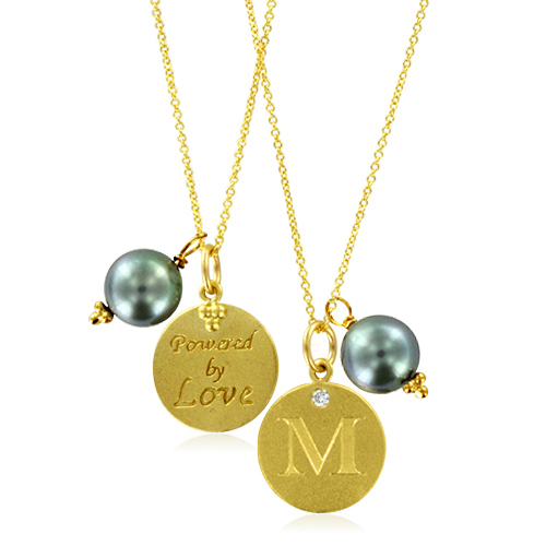 initial necklace pearl charm letter m diamond pendant With letter m pendant necklace
