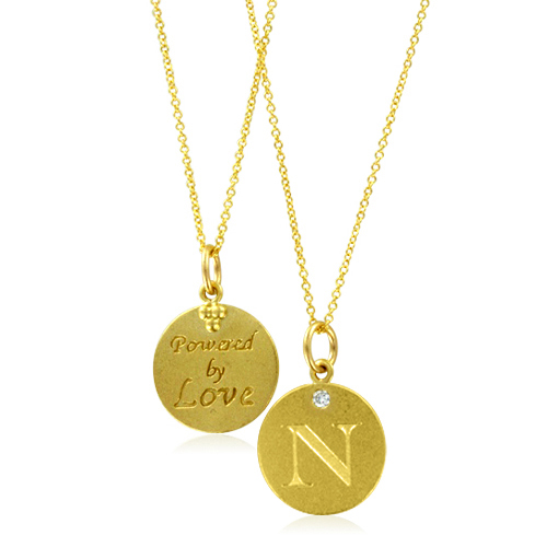 Initial Necklace Letter N Diamond Pendant With 18k Yellow Gold Chain