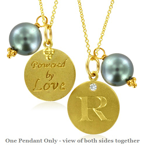 initial necklace pearl charm letter r diamond pendant yellow gold