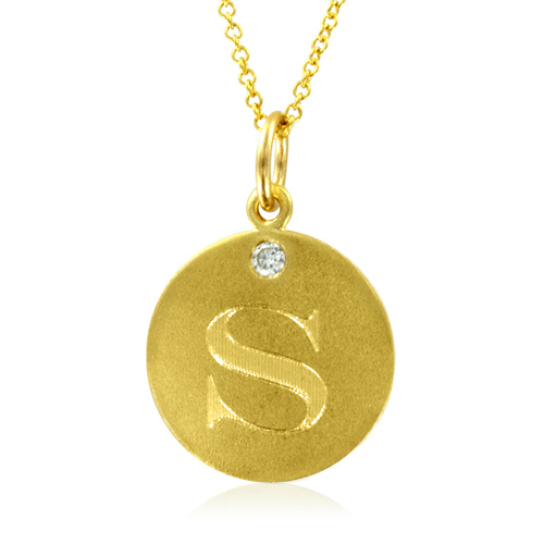 Initial necklace letter s diamond pendant with 18k yellow gold chain order now ships on thursday 621order now ships in 4 business days aloadofball Image collections