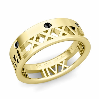 Love More Roman Numeral Black Diamond Wedding Band in 18k Gold, 7mm