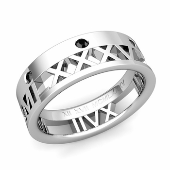 Love More Roman Numeral Black Diamond Wedding Band in Platinum, 7mm