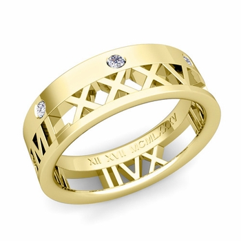 Love More Roman Numeral Diamond Wedding Band in 18k Gold, 7mm