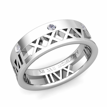 Love More Roman Numeral Diamond Wedding Band in Platinum, 7mm
