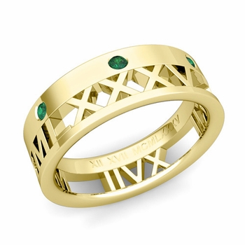 Love More Roman Numeral Emerald Wedding Band in 18k Gold, 7mm
