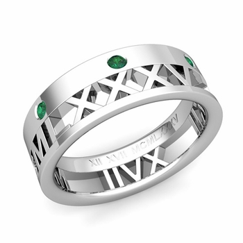 Love More Roman Numeral Emerald Wedding Band in Platinum, 7mm
