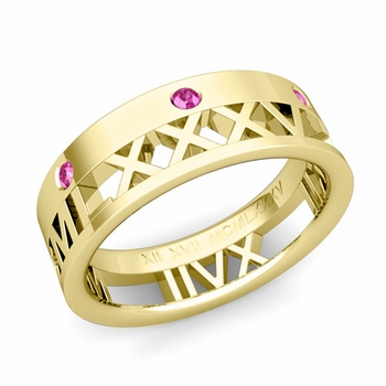 Love More Roman Numeral Pink Sapphire Wedding Band in 18k Gold, 7mm